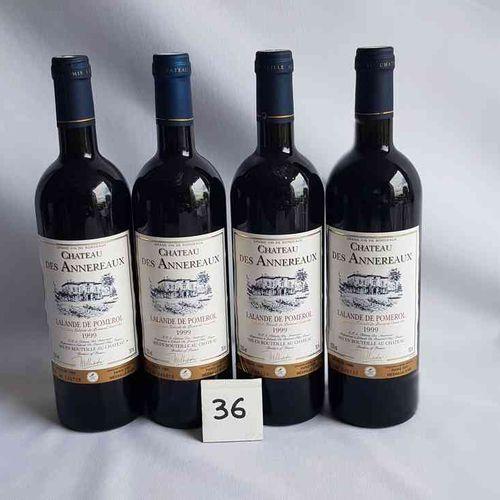 4 bouteilles château DES ANNEREAUX 1999. LALANDE DE POMEROL. Médaille d'or Paris…
