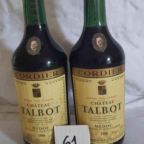 2 Bouteilles château TALBOT 1966 GCC SAINT JULIEN . Belle présentation, bons niv…