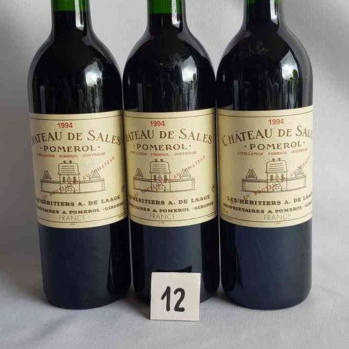 3 bouteilles château DE SALES 1994. POMEROL. Présentation parfaite.