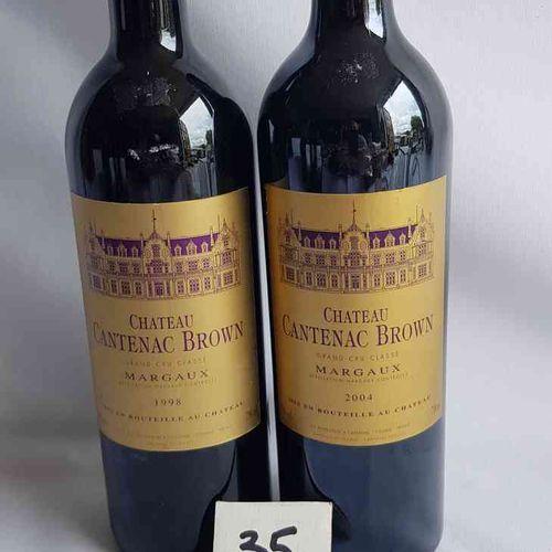 2 bouteilles château CANTENAC BROWN GCC MARGAUX dont 1 bouteille de 1998 et une …