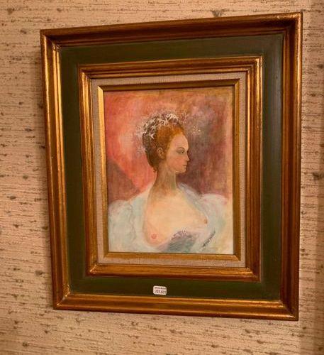Anne PERON | XXe siècle Jeune femme Gouache signée en bas à droite Cadre doré