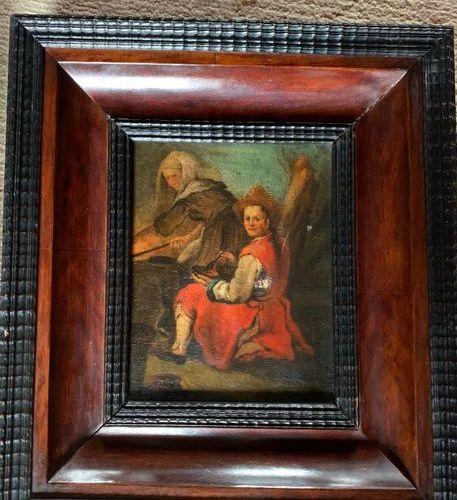 ECOLE flamande | XVIIe siècle Le Souper Huile sur toile (accidents et restaurati…