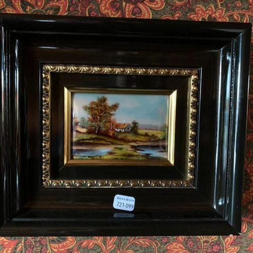 ECOLE limougeaude | XXe siècle Paysages Deux émaux peints sur cuivre
