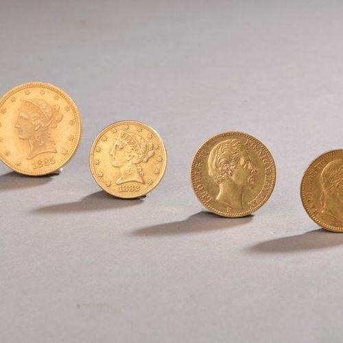 Ensemble de pièces en or comprenant : 20 Francs Napoléon III tête laurée de 1865…