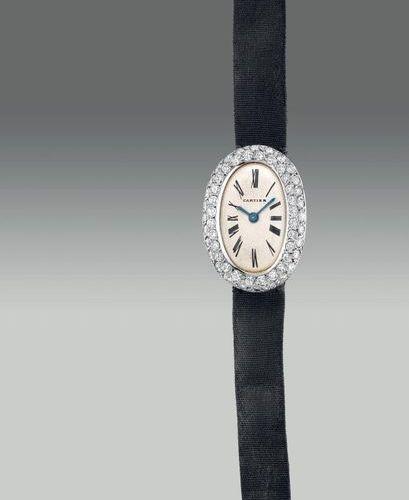 CARTIER Une montre bracelet pour dame, fine et élégante, de forme ovale, en plat…