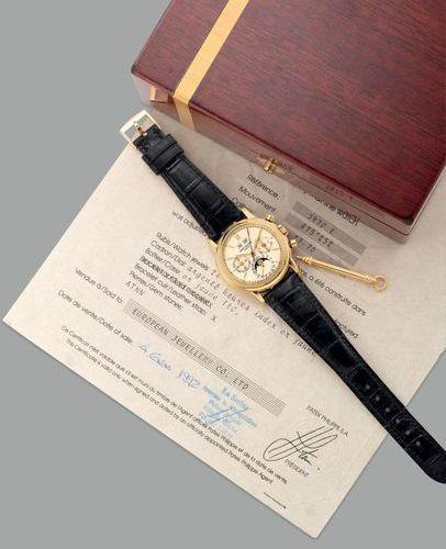 PATEK PHILIPPE Une montre bracelet chronographe à calendrier perpétuel en or jau…