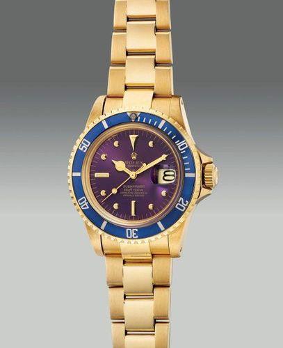 ROLEX Une très belle et rare montre de plongée en or jaune avec seconde centrale…