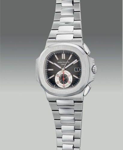 PATEK PHILIPPE Une belle et rare montre bracelet chronographe flyback en acier i…