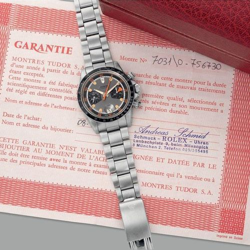 TUDOR Une belle et rare montre bracelet chronographe en acier inoxydable avec da…
