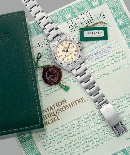 """ROLEX Une belle et rare montre bracelet en acier inoxydable avec cadran """"ivoire""""…"""