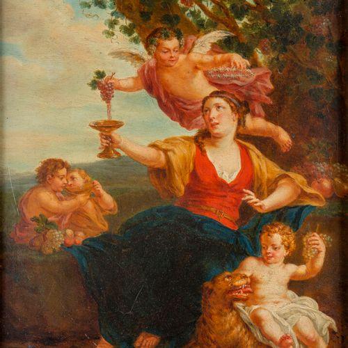 Attribué à Jean LEMOYNE (1638 1705), Femme et putti à la guirlande de fleurs, Fe…