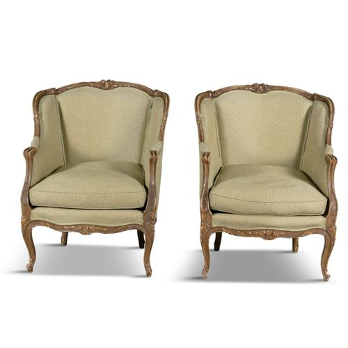 A PAIR OF LOUIS QUINZE STYLE PAINTED AND PARTIALLY GILDED BEECHWOOD FRAMED FAUTE…