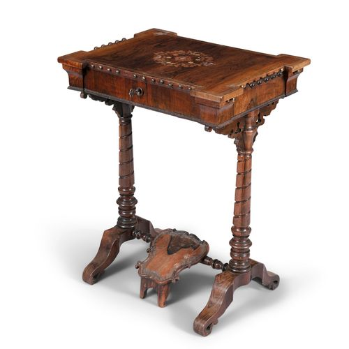 AN EARLY VICTORIAN ROSEWOOD AND BRASS INLAID WORK TABLE, of rectangular form, wi…