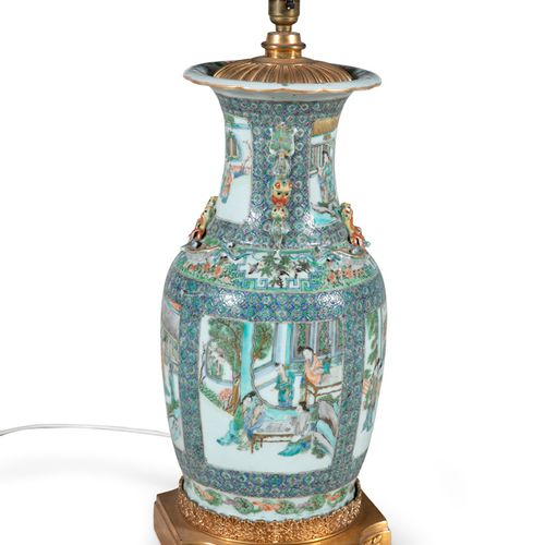 A CHINESE FAMILLE VERTE VASE, 19th Century, converted to a table lamp, with out …