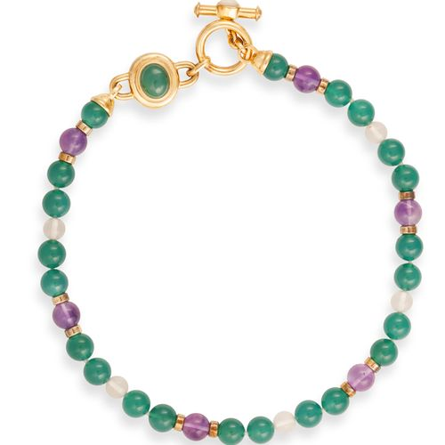 A SEMI PRECIOUS BEAD NECKLACE WITH A PAIR OF EARCLIPS BY KAI YIN LO, the necklac…