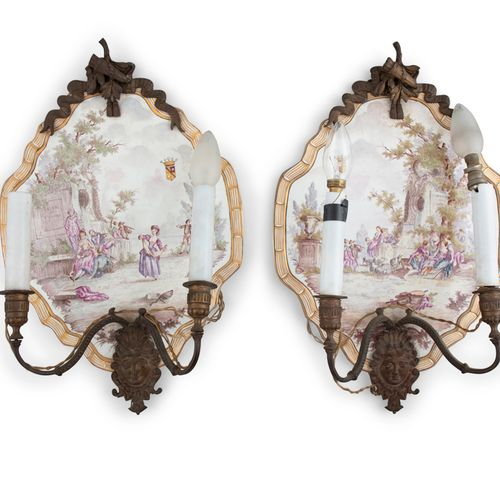 A PAIR OF FRENCH FAIENCE GLAZED WALL SCONCES, Lille, each mounted on a porcelain…