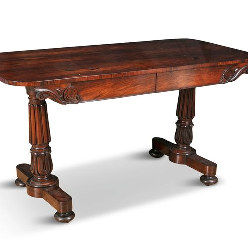 A WILLIAM IV ROSEWOOD LIBRARY TABLE, c.1830, of rectangular form, with scroll ca…