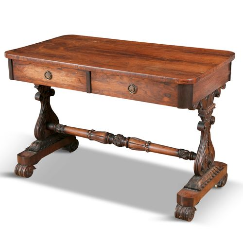 A ROSEWOOD LIBRARY TABLE, c.1800, by Seddon & Co, the rectangular top with round…