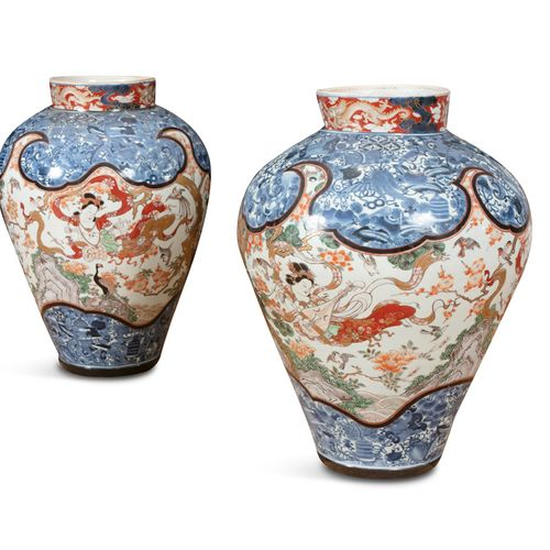 A PAIR OF LARGE JAPANESE ARITA PORCELAIN VASES, c.1900, of ovoid form, with stif…