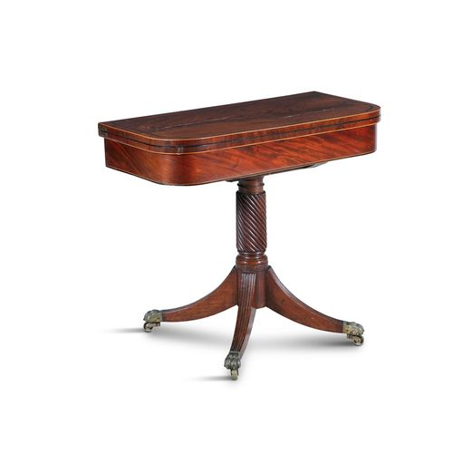 A REGENCY INLAID MAHOGANY RECTANGULAR FOLDING TOP GAMES TABLE, with rosewood cro…