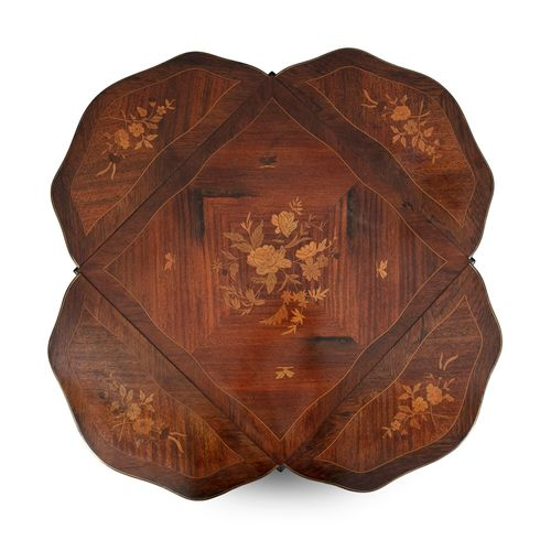 A MARQUETRY ENVELOPE OCCASIONAL TABLE, c.1900, the squared kingwood top with flo…