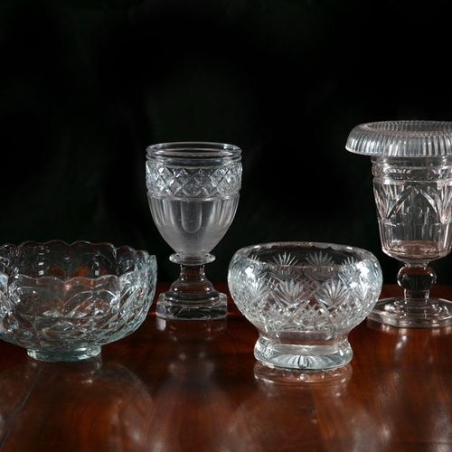 A COLLECTION OF 19TH CENTURY CUT GLASS, comprising: a turn over vase with fluted…