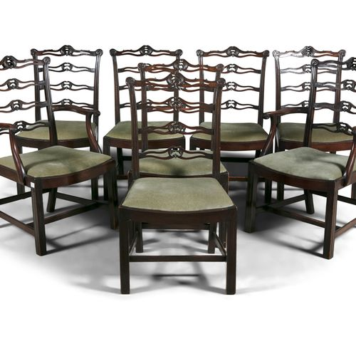 A SET OF EIGHT MAHOGANY FRAMED DINING CHAIRS, in the Georgian taste, with pierce…