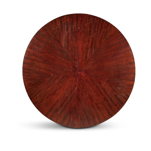 A VICTORIAN MAHOGANY CIRCULAR BREAKFAST TABLE, the top with segmented fan shaped…