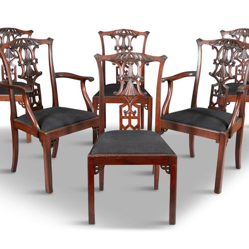 A SET OF SIX CHINESE CHIPPENDALE AND MAHOGANY DINING CHAIRS, late 19th century, …