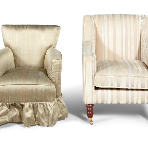 A SQUARE BACK UPHOLSTERED ARMCHAIR, upholstered in cream striped fabric, raised …