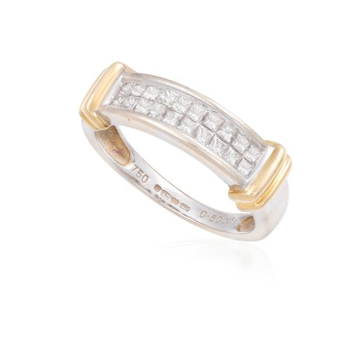 A DIAMOND RING, the frontispiece set with two rows of princess cut diamonds weig…