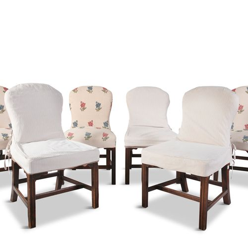 A MATCHED SET OF SIX GEORGE III AND LATER MAHOGANY FRAMED SIDE CHAIRS, the uphol…