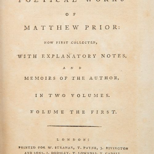 PRIOR, MATTHEW The Poetical Works (2 Vols), London 1779, polished calf, the spin…