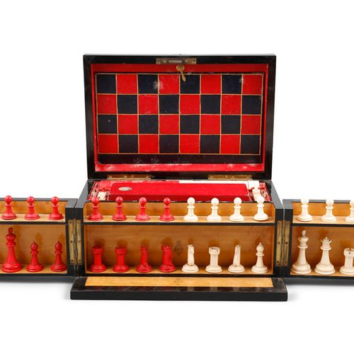 A VICTORIAN GAMES BOX, retailed by Wedgwood & Sons, 9 Cornhill, London, with hin…