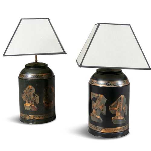 A PAIR OF 19TH CENTURY TOLEWARE TABLE LAMPS, converted from tea canisters, each …