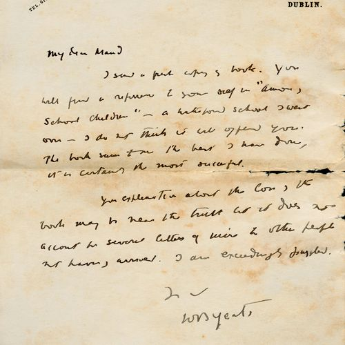 THE POET TO HIS BELOVED W.B. YEATS An autograph signed letter to 'My dear Maud' …