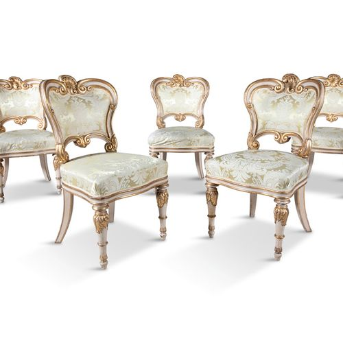 A SET OF FIVE WILLIAM IV WHITE PAINTED PARCEL GILT SIDE CHAIRS, c.1830, possibly…