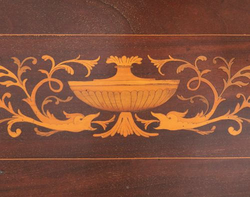 AN EDWARDIAN INLAID MAHOGANY SLOPEFRONT BUREAU, the fall front top with satinwoo…