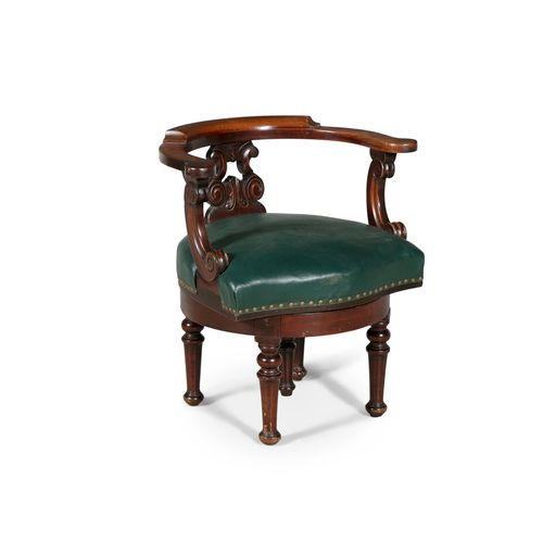 A COMPOSED VICTORIAN LIBRARY CHAIR, circa 1840, with horseshoe back rail and aca…
