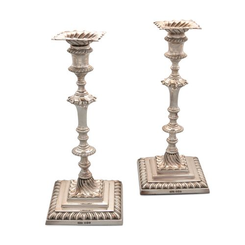 A PAIR OF LATE VICTORIAN SILVER TABLE CANDLESTICKS, Sheffield c.1897, mark of Ja…