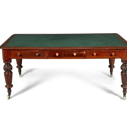 A VICTORIAN MAHOGANY RECTANGULAR PARTNER'S DESK, the top with inset green leathe…