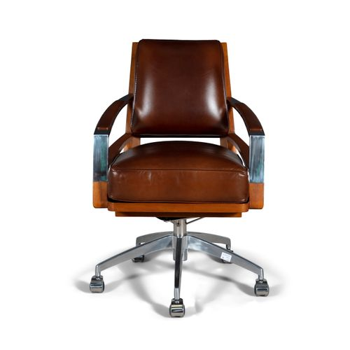 OFFICE CHAIR A teak and chrome office chair, upholstered in leather, on castors,…