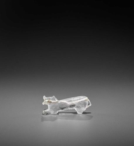 A VERY RARE PYU ROCK CRYSTAL TALISMAN DEPICTING A TIGER WITH CUB IN ITS MOUTH Py…