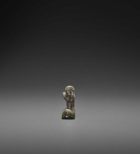 A RARE PYU AVENTURINE 'MONKEY' TALISMAN Pyu city states, 2nd 10th century. The o…