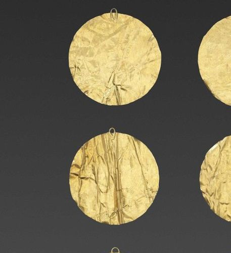 SIX BACTRIAN GOLD DISKS Ancient region of Bactria, Kushan period or earlier, 100…