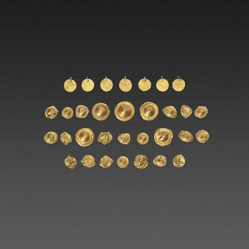 32 BACTRIAN GOLD GARM ENT ORNAMENTS Ancient region of Bactria, Kushan period or …