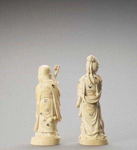 TWO VERY LARGE INLAID IVORY OKIMONO OF LUCKY GODS Japan, Meiji period (1868 1912…
