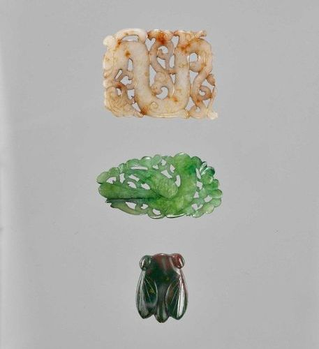 THREE HARDSTONE PENDANTS China, late Qing dynasty (1644 1912) to Republic period…