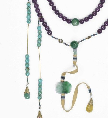 A JADE AND TURQUOISE COURT NECKLACE, CHAOZHU, LATE QING China, 19th to early 20t…