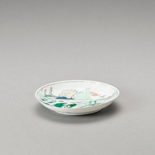 A FIGURATIVE FAMILLE VERTE DISH, QIANLONG MARK AND PERIOD China, Qianlong period…